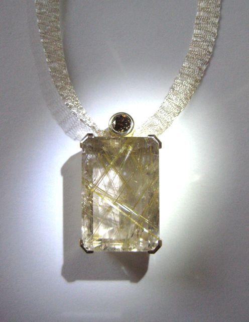 Rutilated quartz and diamond pendant alexandra hart jewelry rutilated quartz and diamond pendant mozeypictures Images