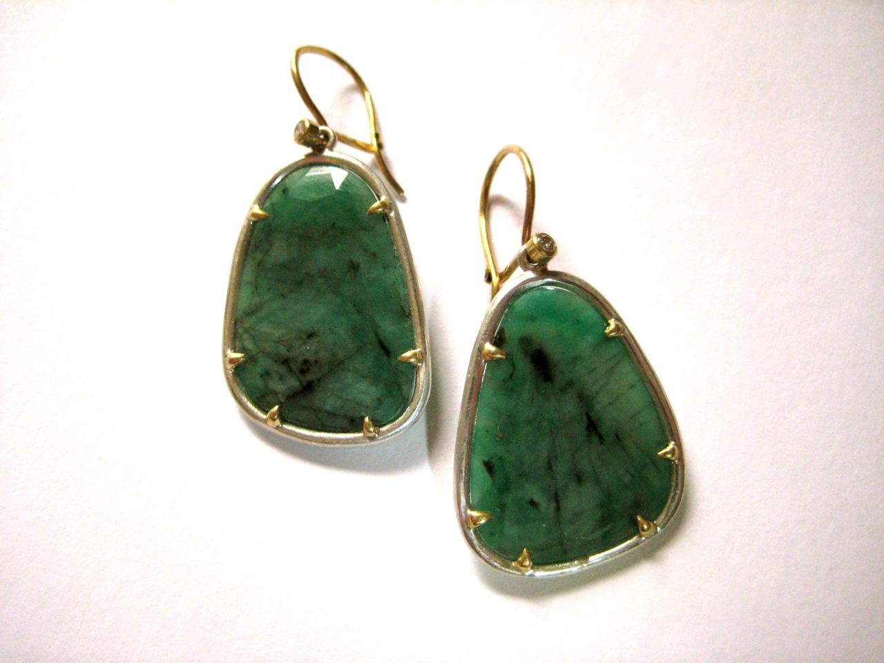 Emerald Slice Earrings with diamonds