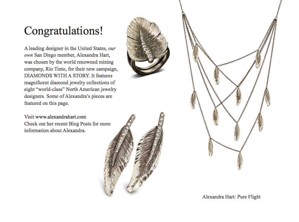 Pure Flight Collection with Silvermist Diamonds TM  featured in the WJA Newsletter