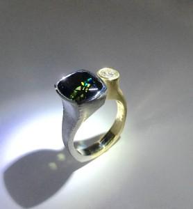 Tanzanite Platinum and 18k Ring