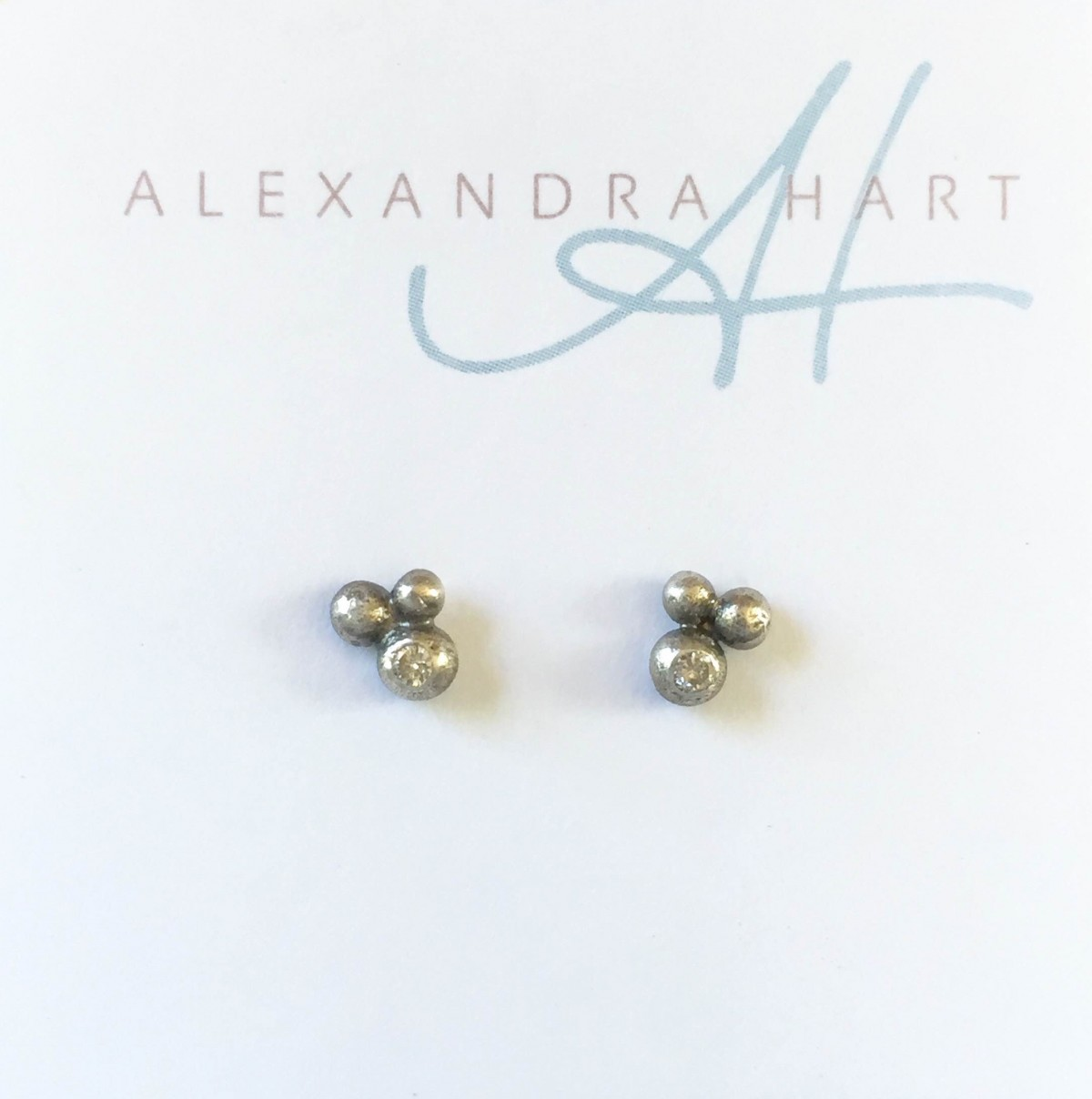 Tiny Pebble Earrings with Diamonds