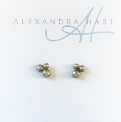 Tiny Pebble Earrings with Diamonds