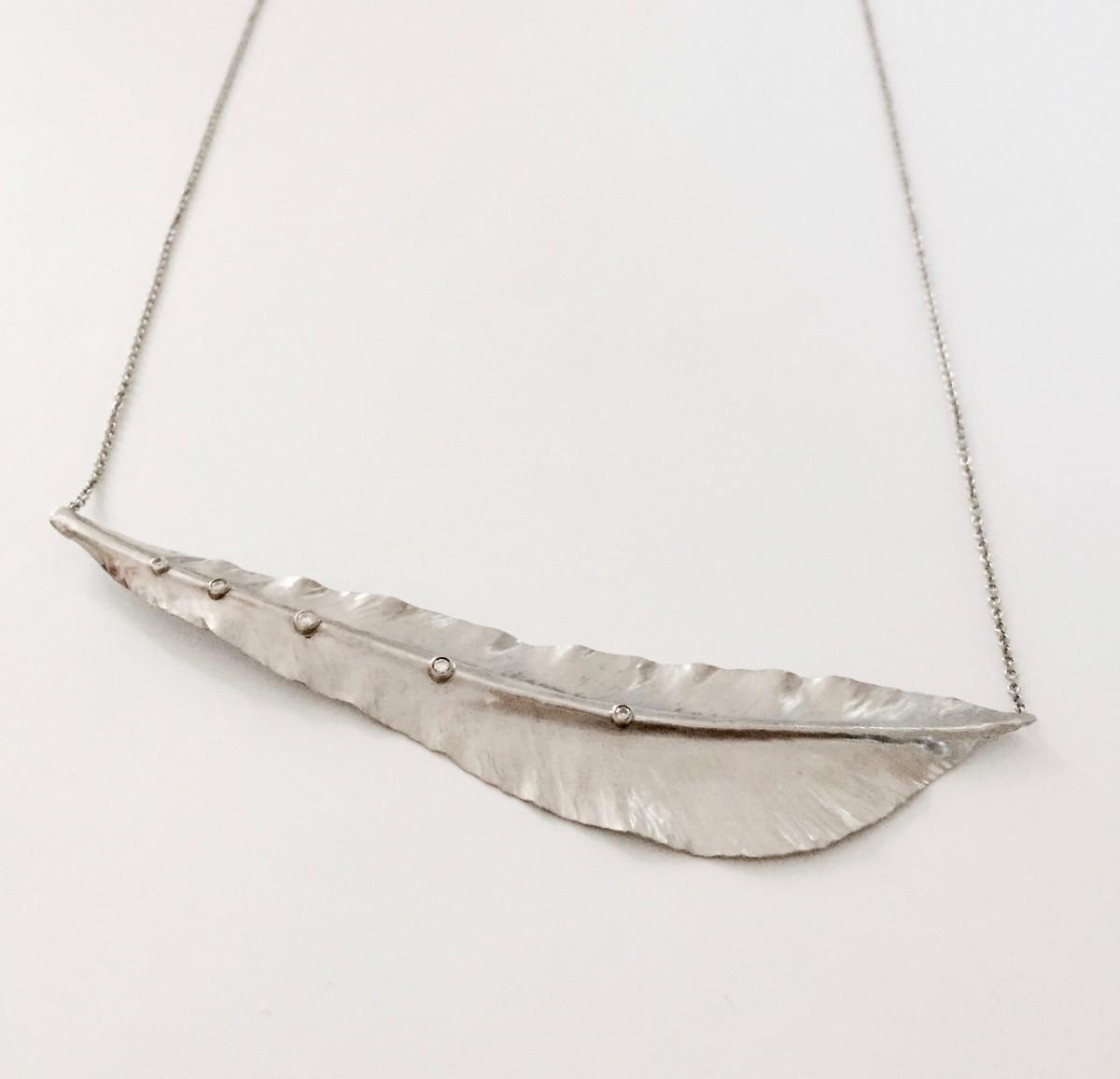 Palladium Feather Bib-Necklace | Alexandra Hart Jewelry